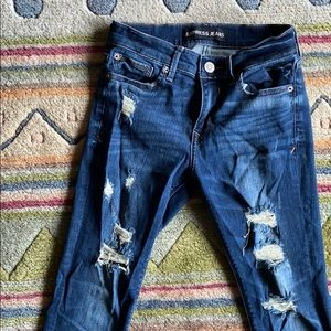 Express dark wash ripped jeans